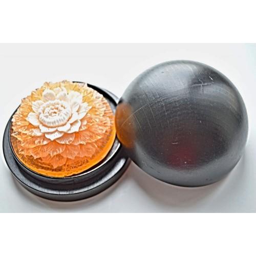 Vyřezávané mýdlo - Ibišek - broskev - dvoubarevné