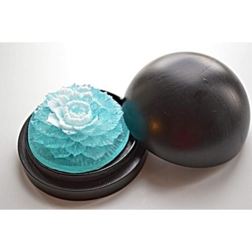 Vyřezávané mýdlo - Ibišek - oceán - dvoubarevné