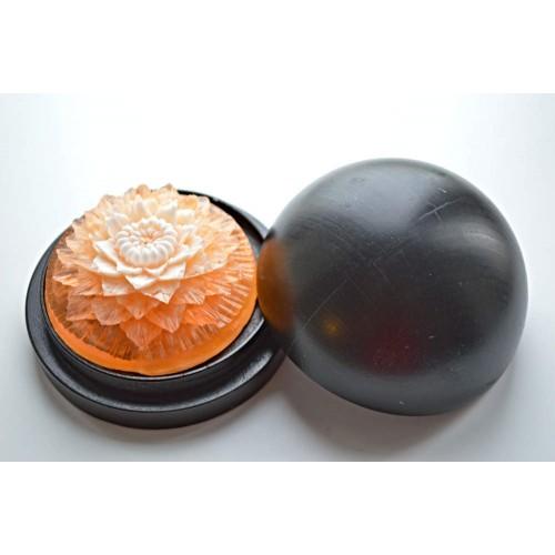 Vyřezávané mýdlo - Jiřina - broskev - dvoubarevné