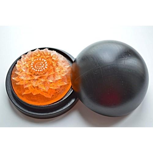 Vyřezávané mýdlo - Jiřina - broskev - průhledné